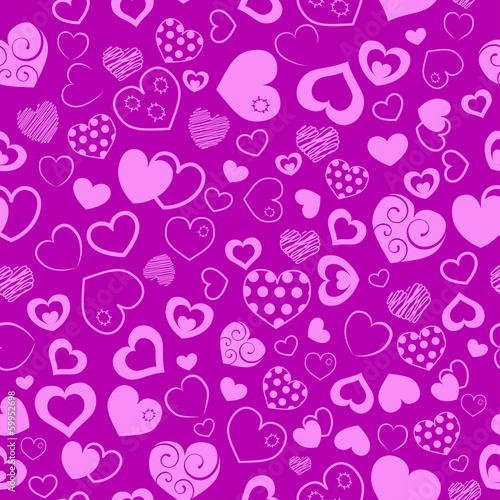 Seamless pattern of hearts, pink on purple