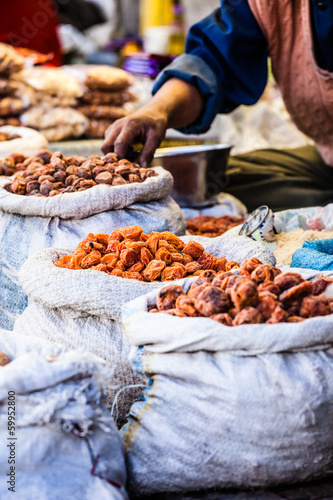 Dried fruits in local Leh market, India.