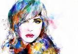 Fototapety Beautiful woman face. watercolor illustration