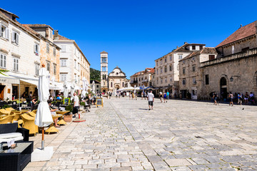 Main square of the old town of Hvar on Hvar island in Croatia