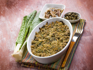gratin of swiss chard anchovies and capers