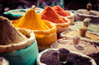 Leinwanddruck Bild - Indian colored spices at local market.