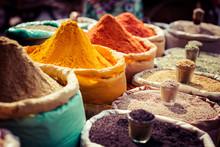 "Постер, картина, фотообои ""Indian colored spices at local market."""