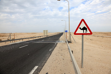 Camels crossing sign in Qatar, Middle East
