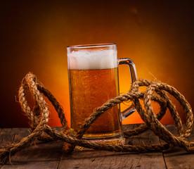 Beer on vintage background