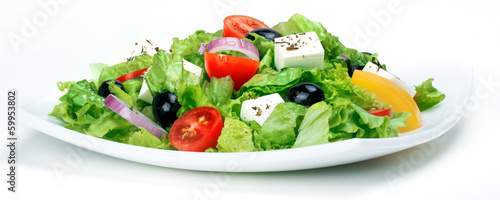 Aluminium Salade Fresh Vegetable salad (greek salad). Useful vitamin food.