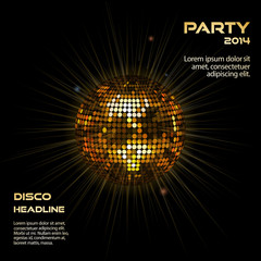 gold disco ball party background
