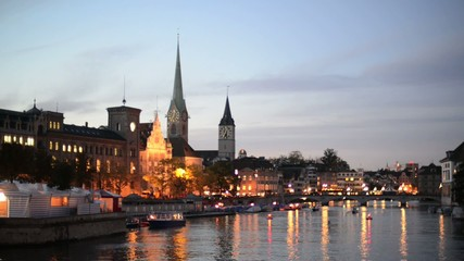 Zurich Skyline and the River Limmat in the Evening