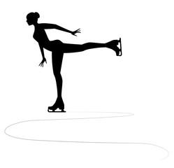 silhouette di pattinatrice sul ghiaccio