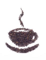 Dry black tea leaves