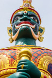 Face of Green Demon Guardian at Thai Temple in Malaysia