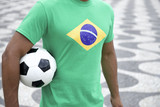 Brazilian Soccer Player Brazil Flag Holding Football