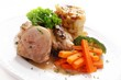 roast pork loin with vegetables meal