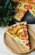 Slice of tomato and cream cheese pie