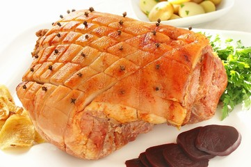 roasted whole ham