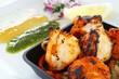 Indian king prawn tikka kebab meal