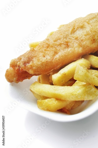 traditional fish and chips in tray