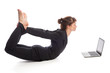 Yoga Woman with Laptop