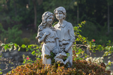 Sculpture of Lovers in garden