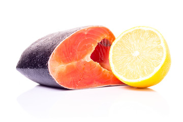 Fresh Raw Salmon with Lemon isolated on White Background