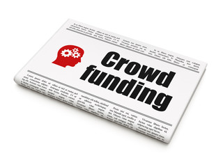 Finance concept: newspaper with Crowd Funding and Head With
