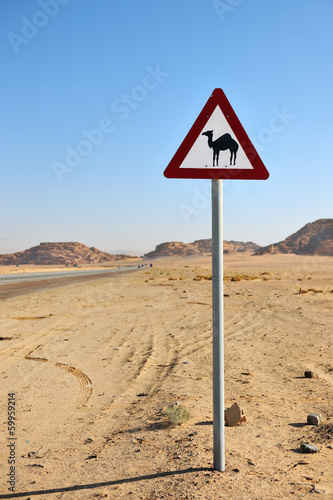 Camels crossing sign in the desert of Wadi Rum