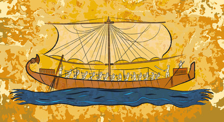 Egyptian papyrus boat fresco