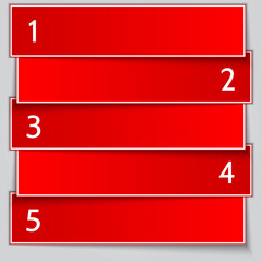 Vector red paper enumerated banner list