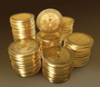 Stack of gold coins Bitcoin