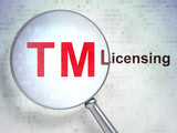 Law concept: Trademark and Licensing with optical glass