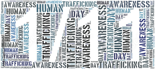 Tag or word cloud human trafficking awareness day related