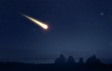 Meteor comet over the nigt sky city landscape