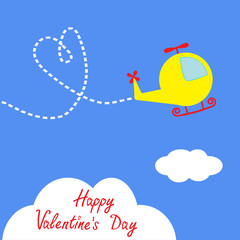 Cartoon helicopter. Dash heart  in the sky. Happy Valentines Day