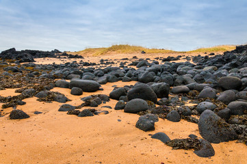 Sand beach with black rocks in Iceland - Snaefellsnes peninsula