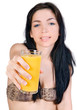 beautiful girl with glass of orange juice
