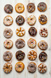 Large group of different donuts