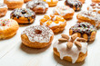 Large group of glazed donuts