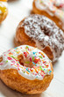 Closeup of freshly baked colorful donuts