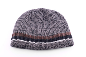 Warm knitted hat isolated on white