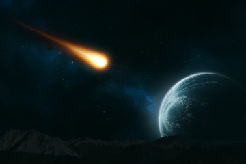 Meteor hurling toward a planet
