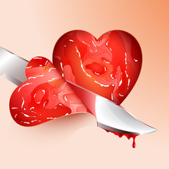 Cutting meat shape heart; eps10