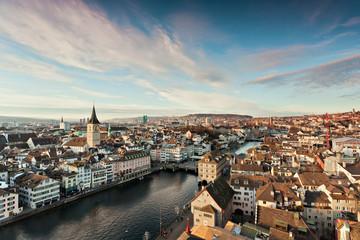 Blick vom Grossmünster auf Zürich
