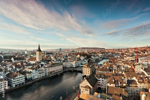 canvas print picture Blick vom Grossmünster auf Zürich