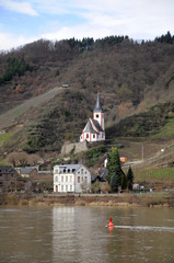 Little white church along the Mosel river