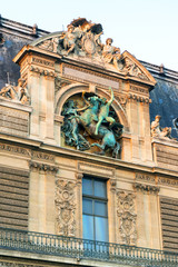 Detail of the exterior of the Louvre, Paris