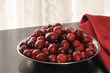 Bowl of fresh cranberries