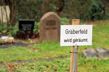 Hinweis auf Gräberfeld wird geräumt