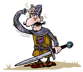 Cartoon weary warrior.