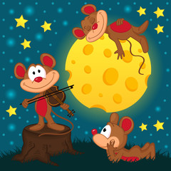 mouse with violin on a stump at night - vector illustration