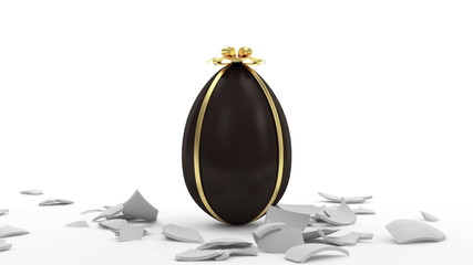 Broken Egg with Chocolate Easter Egg Inside with Alpha